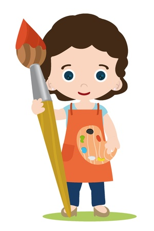 painter palette: lady painter artist, with brush and colors Illustration