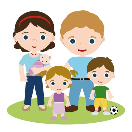 Young family, mother, father and kids Vector