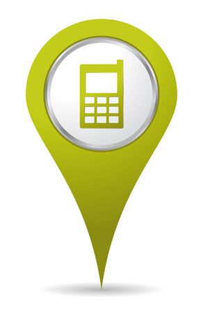 green location mobil phone icon Vector
