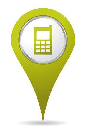 telefon: zielona ikona telefonu lokalizacja mobil Ilustracja