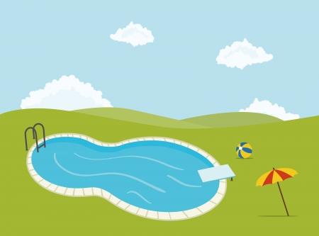 Schwimmbad für Parteien, mit Sonnenschirm und Ball Standard-Bild - 17955572