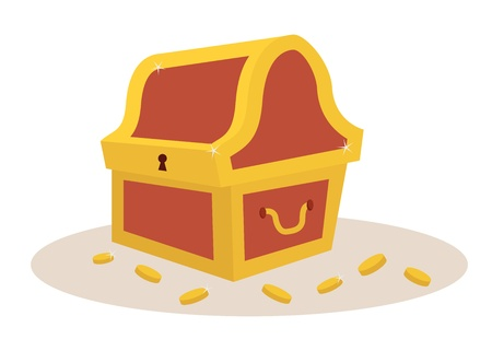 golden and brown tresure chest for pirates Vector