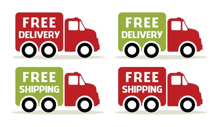 order shipping: free delivery and shipping truck icons