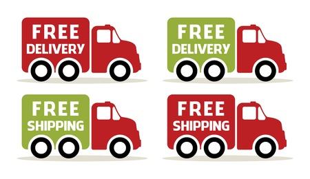 teherautók: Ingyenes szállítás és a szállítási teherautó ikonok Illusztráció