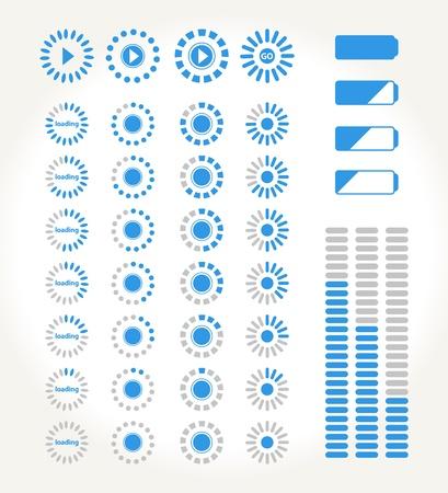 carga: conjunto de iconos de streming para los medios Vectores
