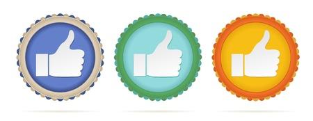 set of three color thumb up circles Stock Vector - 18457376