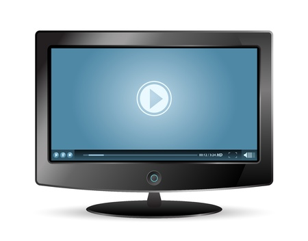 lcd monitor and blue video player Vector