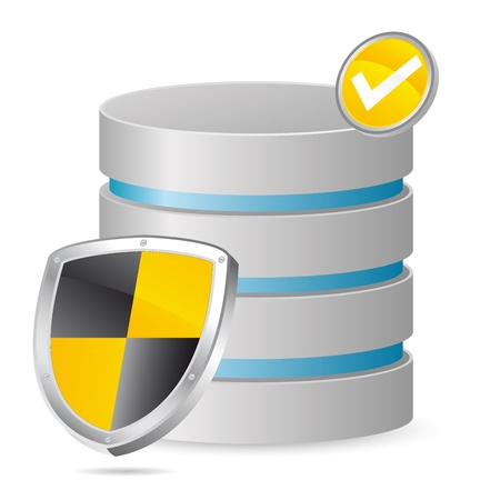 secured server with shield in yellow Vector