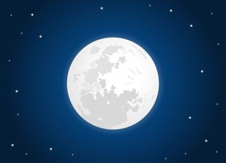별 하늘에 흰색 달 일러스트