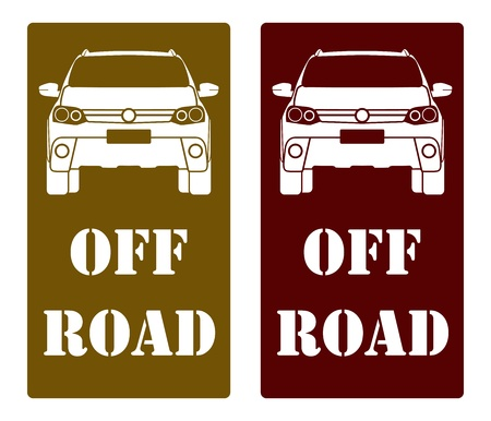 off road vehicle: SUV front off road signage