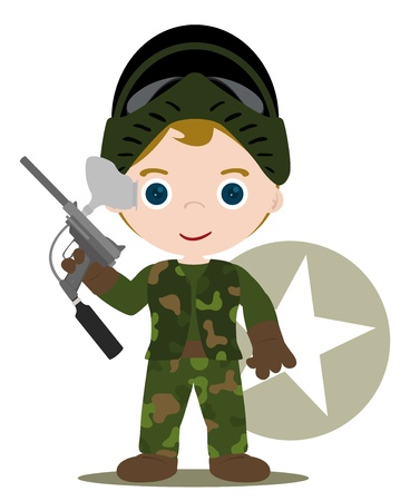 paintball kid with all game suit Vector