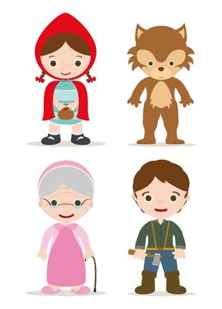 leñador: pequeños personajes capucha roja de hadas Vectores