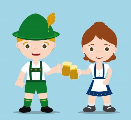 chope biere: Oktoberfest couple avec bi�res, acclamations! Illustration