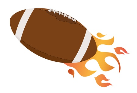 pigskin: Football ball with fire flames