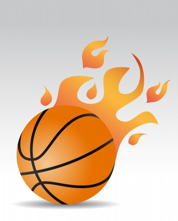 basketball ball with fire flames Vector