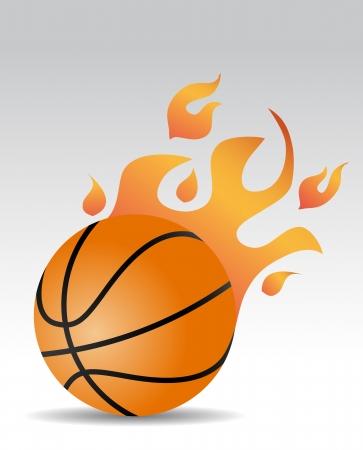 basketball ball: basketball ball with fire flames