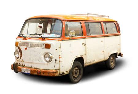 camper: old hippie rust van isolated Stock Photo