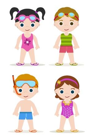 ensemble de quatre piscines natation enfants