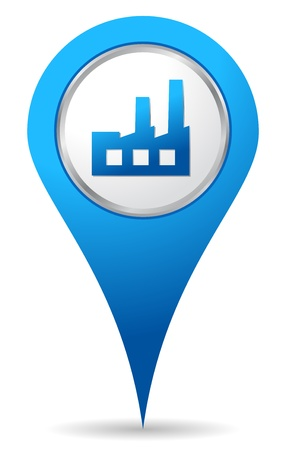 blue factory location icon for maps Vector