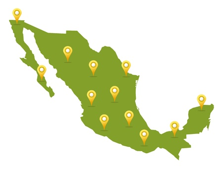 Mexico map in green color with pins Vector
