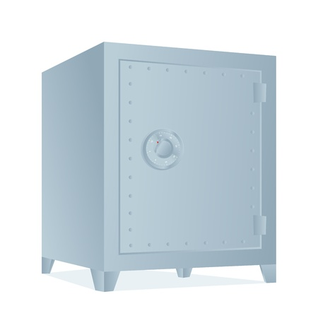 bank vault: silver bank safe with money Illustration
