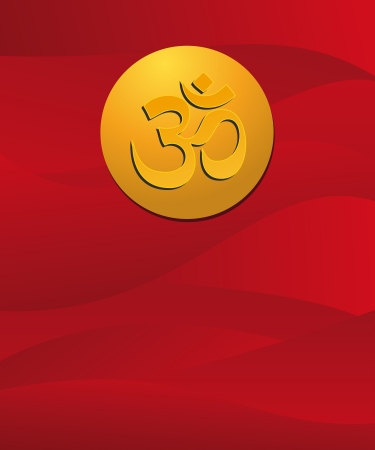 om sign in red background Stock Vector - 20773717