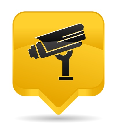 surveillance camera yellow icon Vector