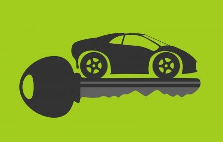 slot met sleuteltje: nieuwe autosleutel in groene achtergrond Stock Illustratie
