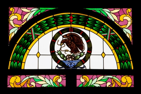 stained glass of mexican eagle sign, Castillo de Chapultepec, Mexico