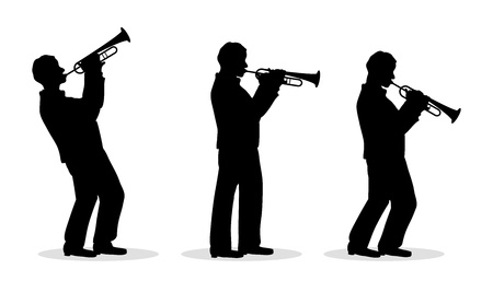 trumpet isolated: sequence of trumpet men silhouette playing