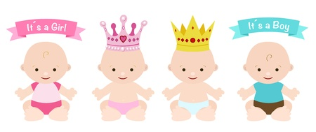 babies set cute girl and boy