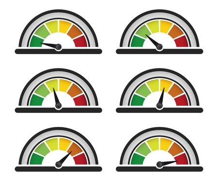 set of performance or speed meter Illustration