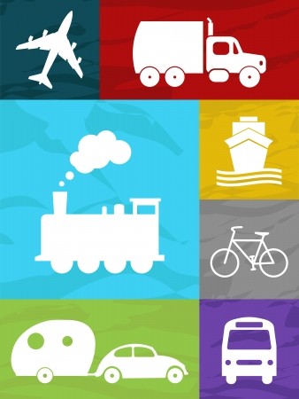 color transportation collage air, land and sea Vector