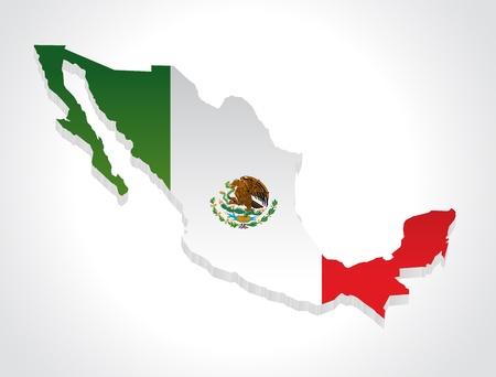 bandera mexicana: mapa de mexico en 3d