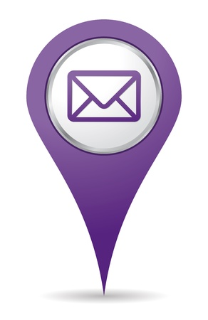 3d pointer: purple location mail icon for web