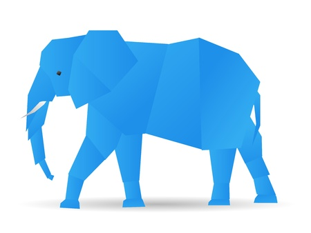 origami cute elephant in blue Vector