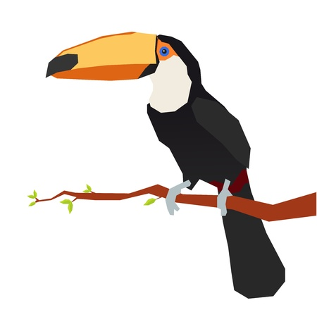 tucan: origami toucan in one tree branch Illustration