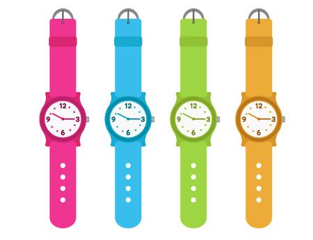 네 아이의 세트는 시계