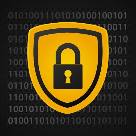 virus informatico: escudo binario amarillo, de protección de datos