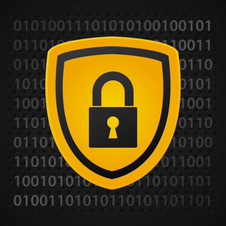 data: yellow binary shield, data protection