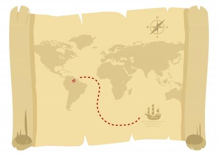 carte trésor: ancienne carte de pirates pour le trésor d'or Illustration