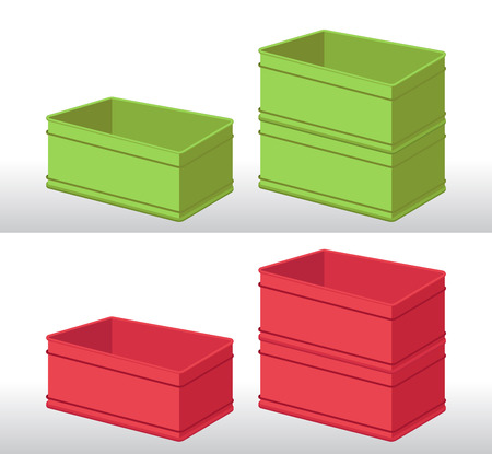 recycle plastic: set of green and red plastic boxes