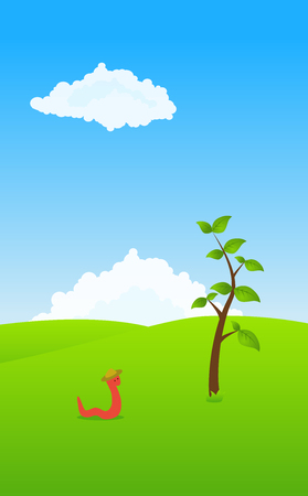 red worm in a field with trees and clouds Vector