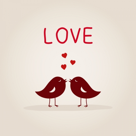 sweet love birds with heart 일러스트