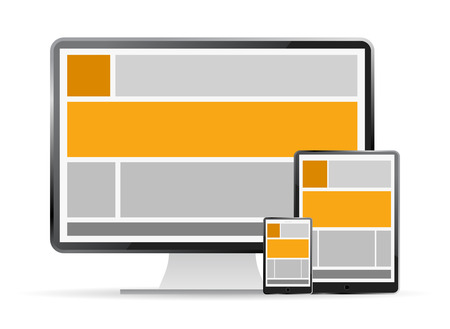 Fully responsive web design in devices Vettoriali