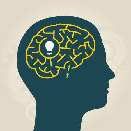 men with idea in mental labyrinth Vector