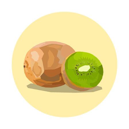 kiwi fruit: kiwi ejemplo de la fruta, c�rculo amarillo Vectores
