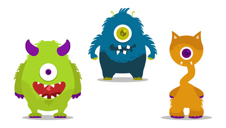 ugly mouth: cute monsters set with one eye Illustration