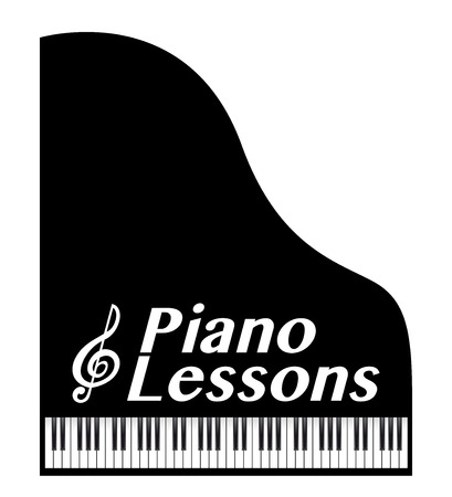 piano lessons poster, with musical note Illustration