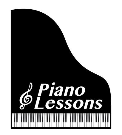 pianolessen poster, met muzikale noot Stock Illustratie